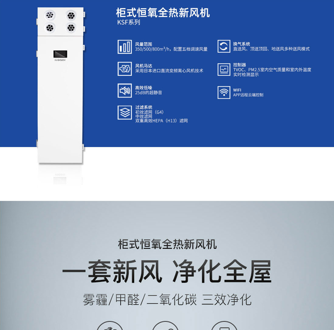 KSF系列柜式恒氧全热 新风机